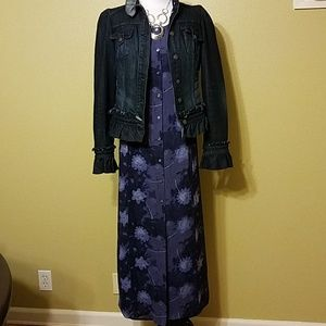 Long purple/blue flower rayon dress